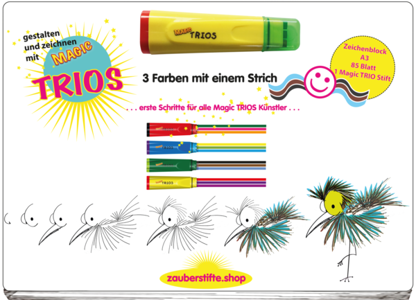 TRIO Activity Malblock A3   Gelber Stift